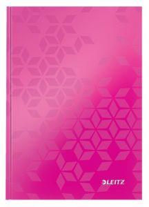 Caiet A5, 80file, matematica, coperta carton, roz, Wow Leitz