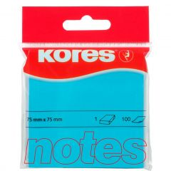 Notes autoadeziv 76mm x 76mm, 100 file/buc, albastru neon, Kores