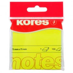 Notes autoadeziv 76mm x 76mm, 100 file/buc, galben neon, Kores