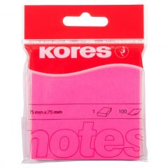 Notes autoadeziv 76mm x 76mm, 100 file/buc, roz neon, Kores