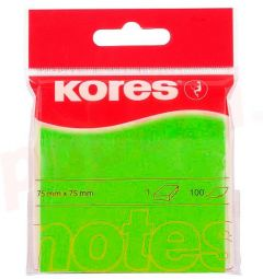 Notes autoadeziv 76mm x 76mm, 100 file/buc, verde neon, Kores