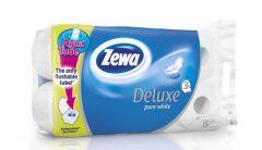 Hartie igienica alba, 3 straturi, 8role/set, Aqua Tube Deluxe Pure White Zewa