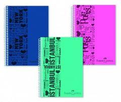 Caiet cu spira A4, 80file, matematica, coperta PP color, Urban Faber Castell