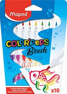Carioca 10 culori/set, varf tip pensula, Color Peps Brush Maped
