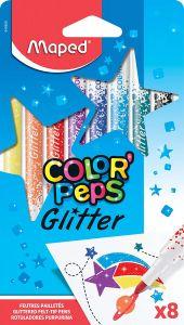 Carioca 8 culori/set, cu sclipici, Color Peps Glitter Maped