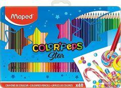 Creioane colorate in cutie metal 48culori/set, Color Peps Star Maped