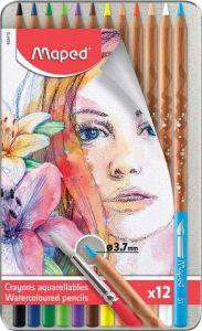Creioane colorate acuarela, in cutie metal, 12culori/set, Color Peps Aqua Artist Maped