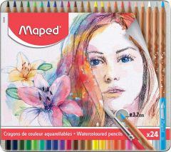 Creioane colorate acuarela, in cutie metal, 24culori/set, Color Peps Aqua Artist Maped