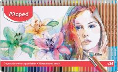 Creioane colorate acuarela, in cutie metal, 36culori/set, Color Peps Aqua Artist Maped