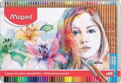 Creioane colorate acuarela, in cutie metal, 48culori/set, Color Peps Aqua Artist Maped