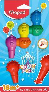 Creioane colorate cerate din plastic, 6culori/set, Color Peps Baby Maped
