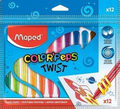 Creioane colorate cerate cu varf retractabil, 12culori/set, Color Peps Twist Maped