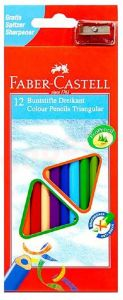 Creioane colorate 12culori/set si o ascutitoare Faber Castell-FC120523