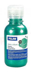 Tempera pe culoare, tub 125ml, verde metalizat, Milan