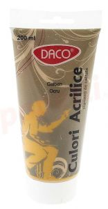 Culori acril, tub 200ml, galben ocru, Daco