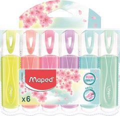 Textmarker pastel 6 culori/set (galben, somon, roz, mov, bleu, verde pal), Classic Fluo Peps Maped