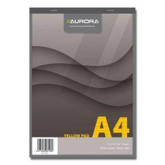Blocnotes capsat A4, 80file, dictando, hartie galbena, 4 perforatii, Aurora Office