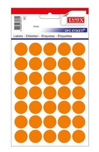 Etichete autoadezive rotunde, diam.16mm, 240buc/set, 5coli/set, portocaliu, Tanex