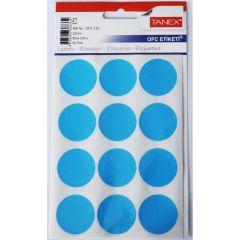 Etichete autoadezive rotunde, diam.32mm, 60buc/set, 5coli/set, albastru, Tanex