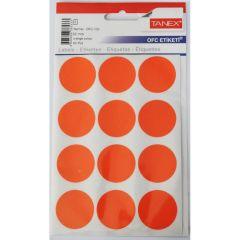 Etichete autoadezive rotunde, diam.32mm, 60buc/set, 5coli/set, portocaliu, Tanex