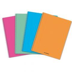 Caiet cu spira A4, 60file, matematica, coperta PP transparent color, Aurora