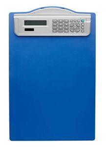 Clipboard simplu albastru A4, cu calculator, Alco