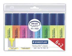 Textmarker 6+2 culori/set (1-galben, 1-portocaliu, 1-roz, 1-mov, 1-albastru, 1-verde, 2-galben), Cla