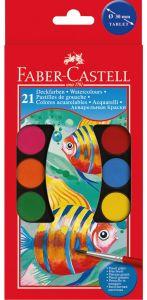 Acuarele pe baza de apa, 21 culori, pastila 30mm, pensula, 125021 Faber Castell
