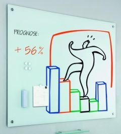 Whiteboard magnetic din sticla cu accesorii, 60cm x 90cm, Smit