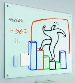 Whiteboard magnetic din sticla cu accesorii, 90cm x 120cm, Smit