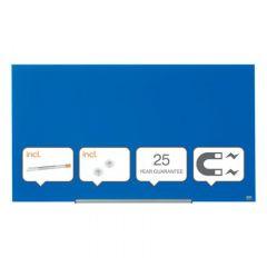 Whiteboard magnetic din sticla, 126cm x 71cm, albastru, Widescreen Diamond NOBO