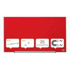 Whiteboard magnetic din sticla, 68cm x 38cm, rosu, Widescreen Diamond NOBO