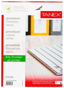 Etichete autoadezive color 24/A4, 70x37,125mm, 100coli/cutie, rosu, Tanex