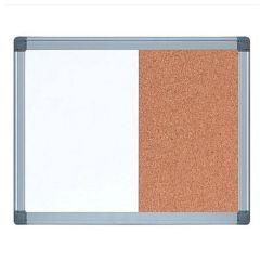Whiteboard magnetic cu panou pluta, 90cm x 120cm, Combi Visual