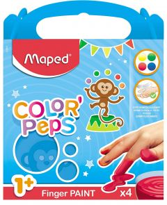 Set creativ, Pictura cu degetele, 4 culori, Color'Peps Maped