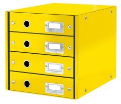 Suport carton laminat cu 4 sertare pentru documente, galben, Click&Store Leitz