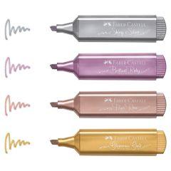 Textmarker 4 culori metalizate/set (auriu, argintiu, rose, rubiniu), Faber Castell
