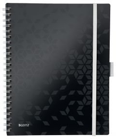 Caiet cu spira A4, 80file, matematica, coperta PP negru, Wow Be Mobile PP Leitz