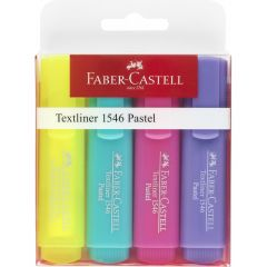 Textmarker pastel 4 culori/set (galben superfluorescent, roz, turcoaz, mov), 1546 Faber Castell