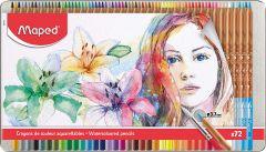 Creioane colorate acuarela, in cutie metal, 72culori/set, Color Peps Aqua Artist Maped