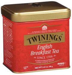 Ceai Twinings English Breakfast, negru, cutie metal, 100g
