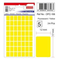 Etichete autoadezive dreptunghiulare, 12x17mm, 280buc/set, 5coli/set, galben fluorescent, Tanex