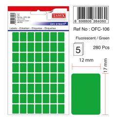 Etichete autoadezive dreptunghiulare, 12x17mm, 280buc/set, 5coli/set, verde fluorescent, Tanex