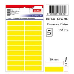 Etichete autoadezive dreptunghiulare, 13x50mm, 100buc/set, 5coli/set, galben fluorescent, Tanex