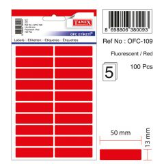 Etichete autoadezive dreptunghiulare, 13x50mm, 100buc/set, 5coli/set, rosu fluorescent, Tanex