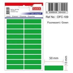 Etichete autoadezive dreptunghiulare, 13x50mm, 200buc/set, 10coli/set, verde fluorescent, Tanex