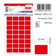 Etichete autoadezive dreptunghiulare, 16x22mm, 160buc/set, 5coli/set, rosu fluorescent, Tanex