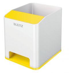 Suport instrumente de scris, cu sistem de amplificare a sunetului, alb/galben, Wow Leitz