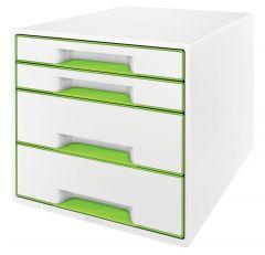 Suport plastic cu 4 sertare pentru documente, alb/verde, Wow Cube Leitz