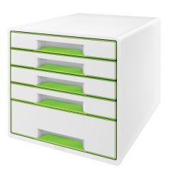 Suport plastic cu 5 sertare pentru documente, alb/verde, Wow Cube Leitz